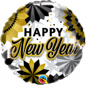 New Year Foil Balloons | Black & Gold Fans | Free Delivery